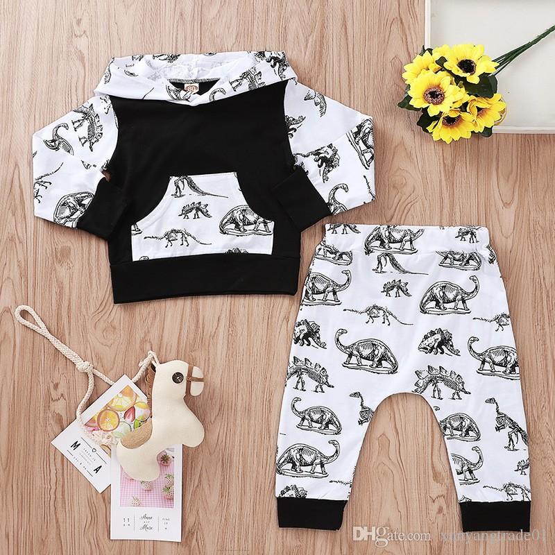 Çocuk Giyim Setleri 2 ADET Sonbahar Kız Erkek Takım Elbise Uzun Kollu Dinozor T-Shirt Tops Kapşonlu Uzun Pantolon Çocuk Bebek Giyim Setleri 8Z14
