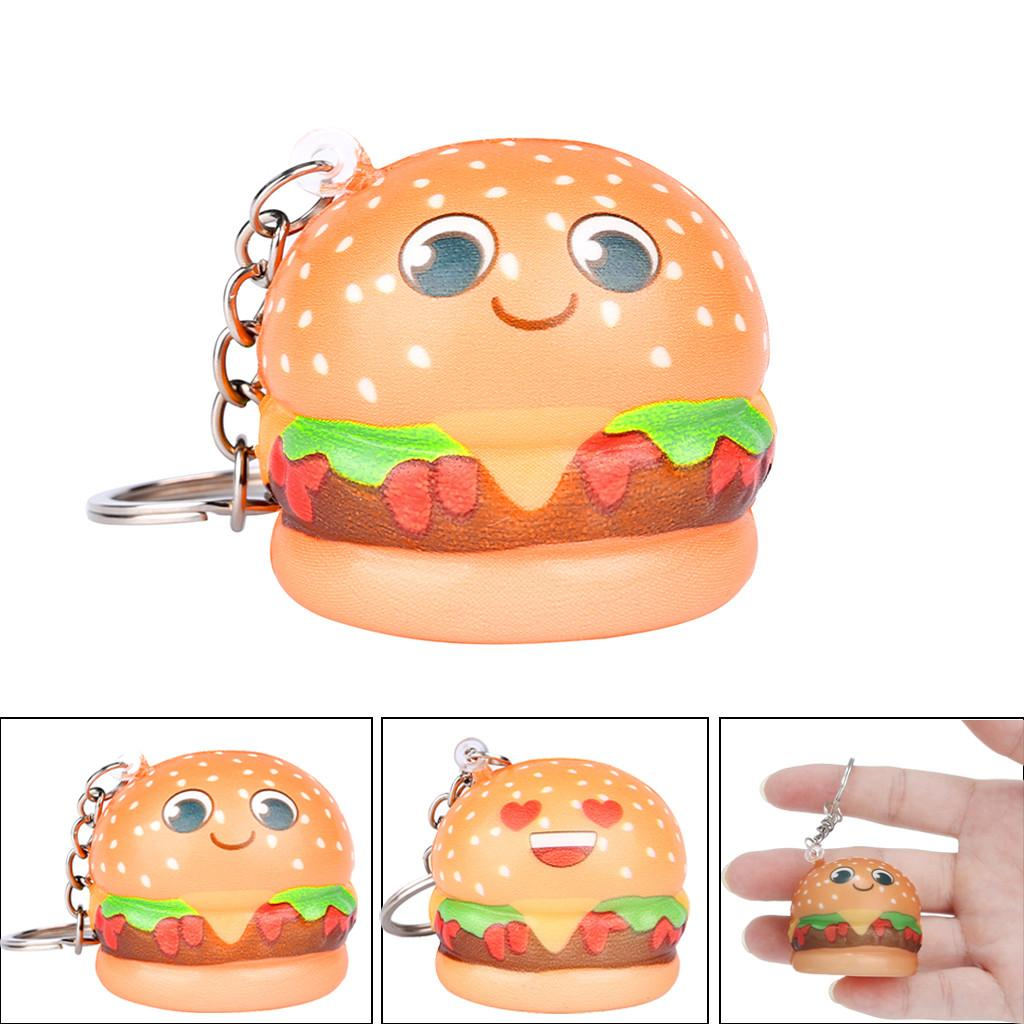 Cute Relax toys squishy Squishies Kawaii Cartoon Hamburger Slow Rising Cream Scented Keychain Stress Relief Toys amusing Fun