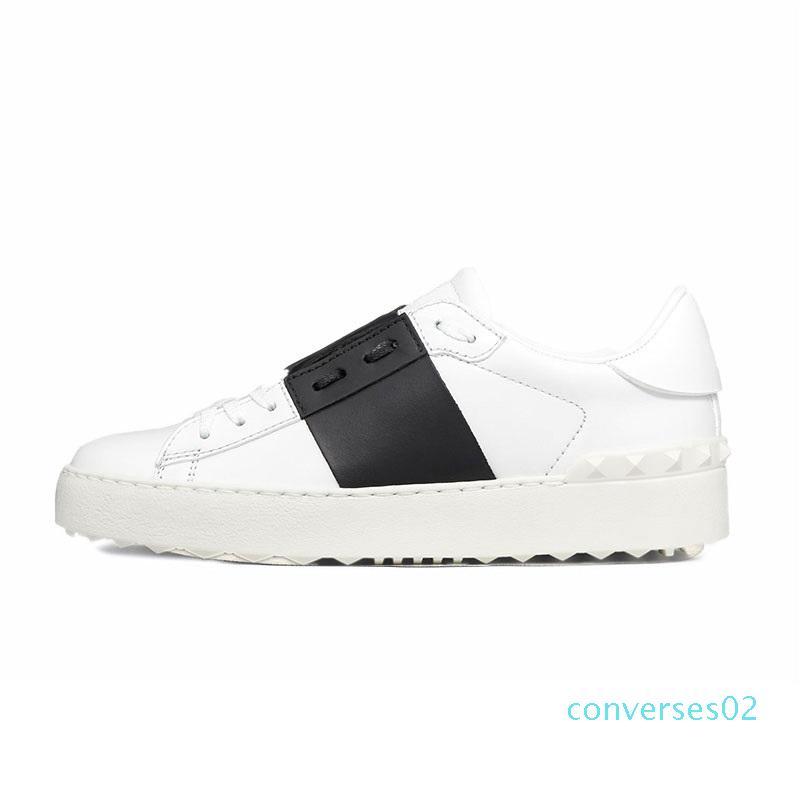 Nova chegada Casual Shoes Branco Preto Vermelho Moda Mens mulheres de couro respirável sapatos abertos Low esportes sapatilhas Tamanho 35-46 CO02