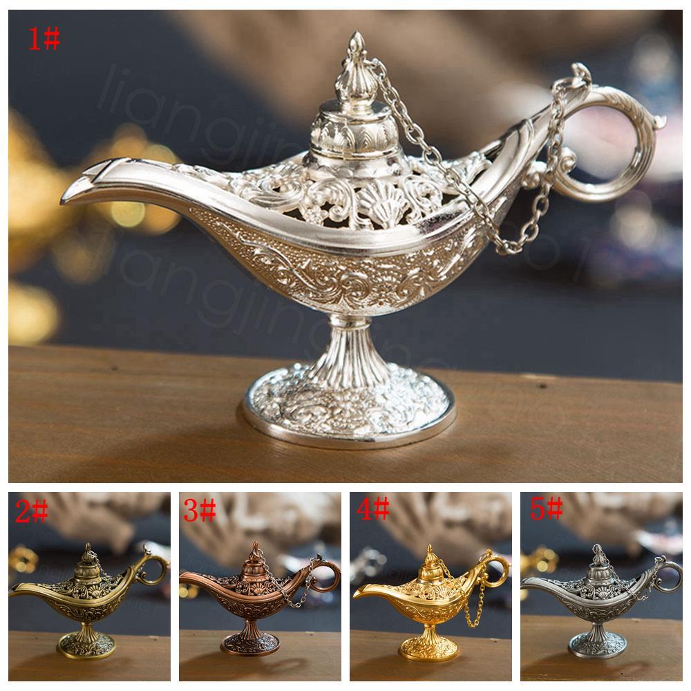 5styles Классического Rare Hollow Легенда Волшебное Genie Лампа курильница Ретро Желающего масло лампа Home Decor подарки ароматы лампы FFA3411A