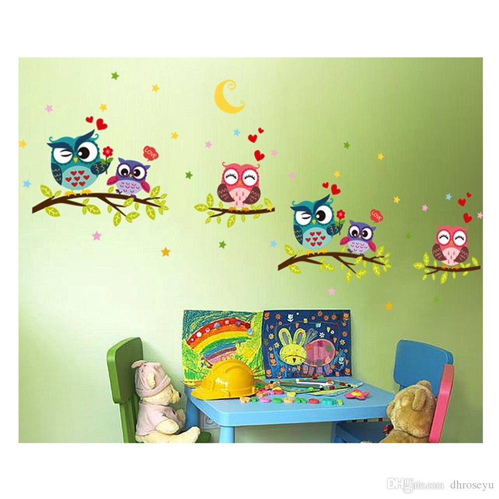 Wall Stickers Children\'S Room Nursery Bedroom Bedside Decorative Stickers  Wallpaper Owls Frame Stickers On The Branches Order Wall Decals Oversized  ...