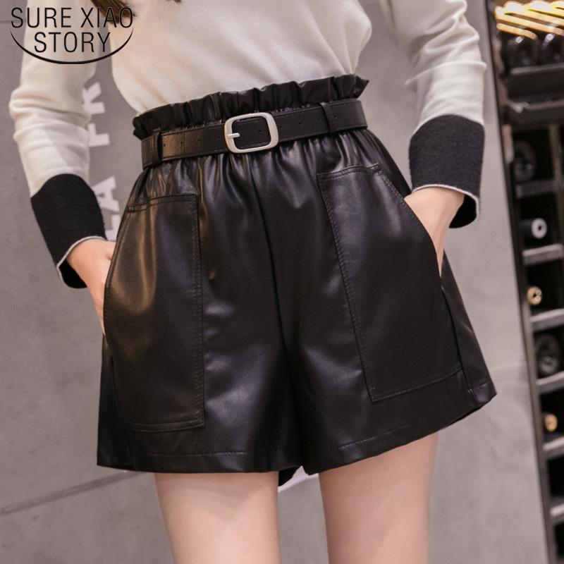 PU-Leder breitbeinig Shorts Herbst-Winter-Mode mit hoher Taille schwarze elegante Mädchen A-Linie Kunstleder Shorts Bottoms 6312 50 MX200407