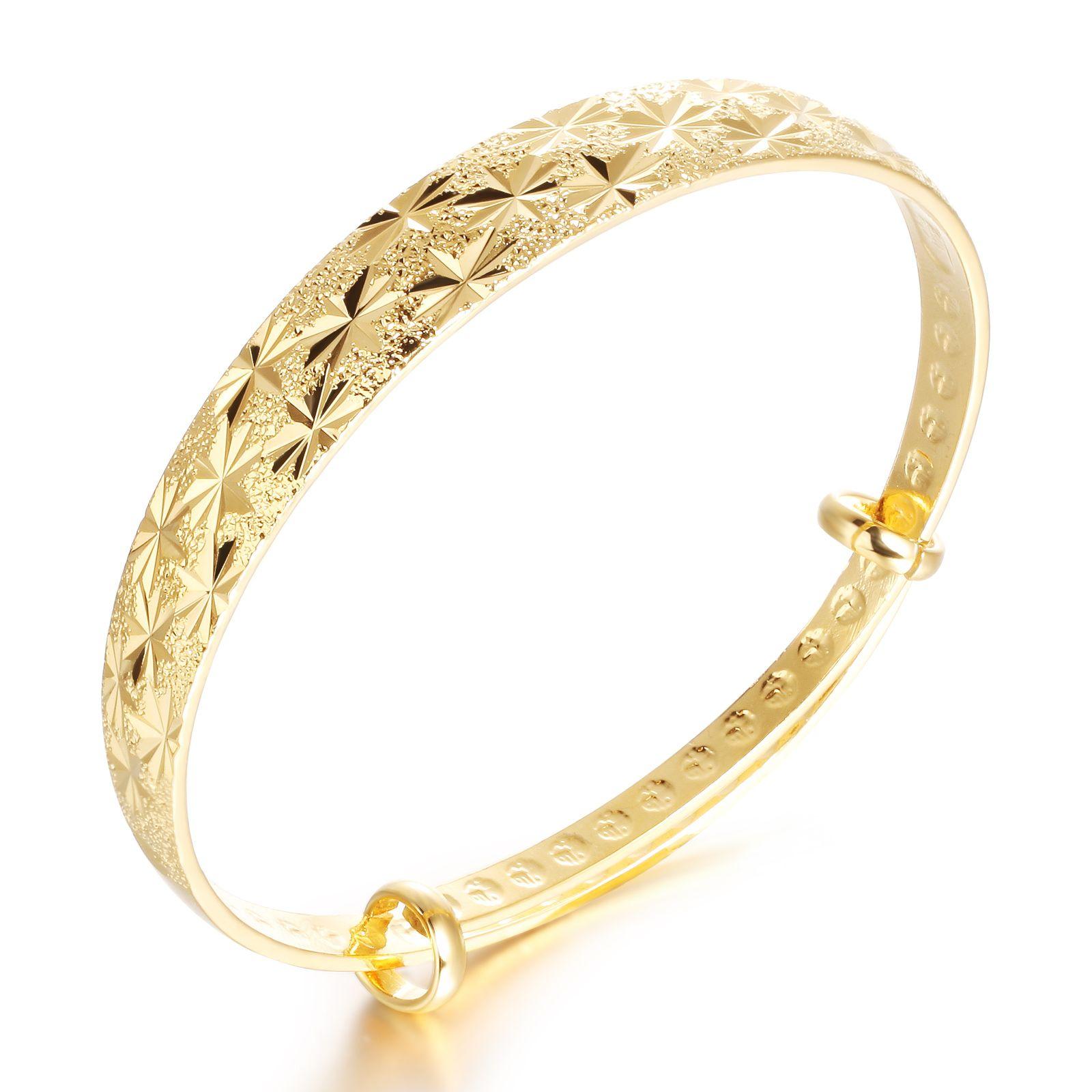 Classical 18k Yellow Gold Diamond-Cut Bangle Bracelet High Polish Metal Finish Adjustable,Wedding accessories