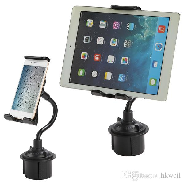 Cell Phone GPS Adjustable Car Cup Holder Mount 2in1 Car Cradles Adjustable Gooseneck Holder Compatible for ipad pro air mini Apple iPhone X
