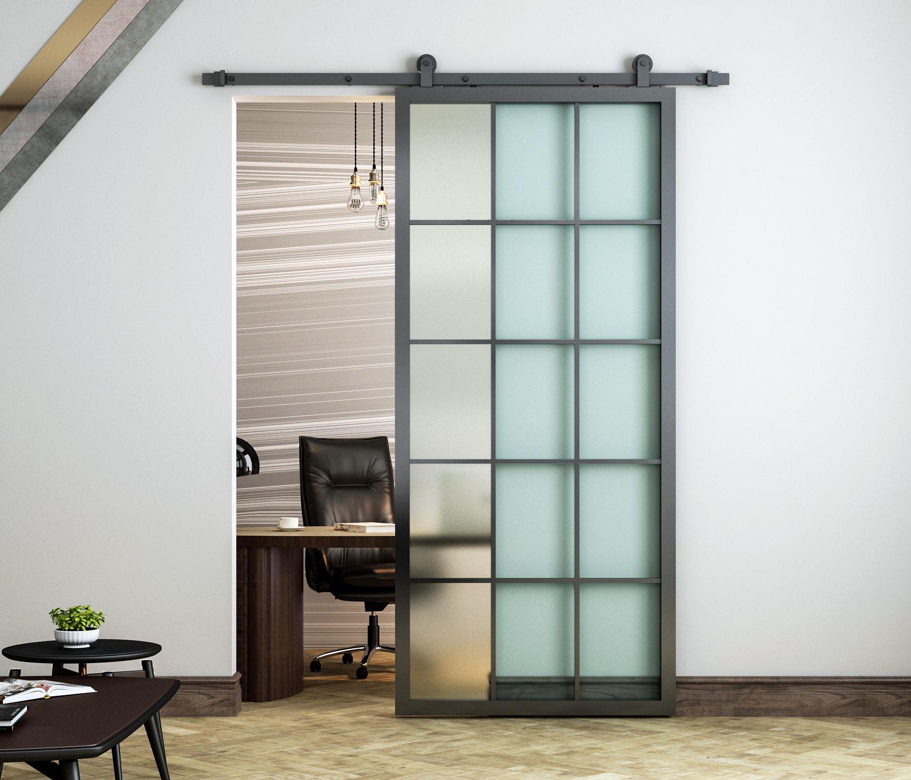 "DIYHD 36x84 ""أسود الألومنيوم الإطار الزجاج انزلاق الباب البحارة لوحة الداخلية واضحة لوحة مقسى زجاج الباب قسم الباب (تفكيك)"