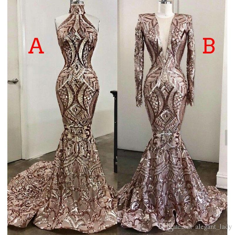 Sparkly Rose Gold Sequins Mermaid Evening Dresses 2020 African Luxury Real Image Muslim Long Sleeve Arab Prom Pageant Gown Evening Dresses Singapore Evening Dresses South Africa From Alegant Lady 158 97 Dhgate Com
