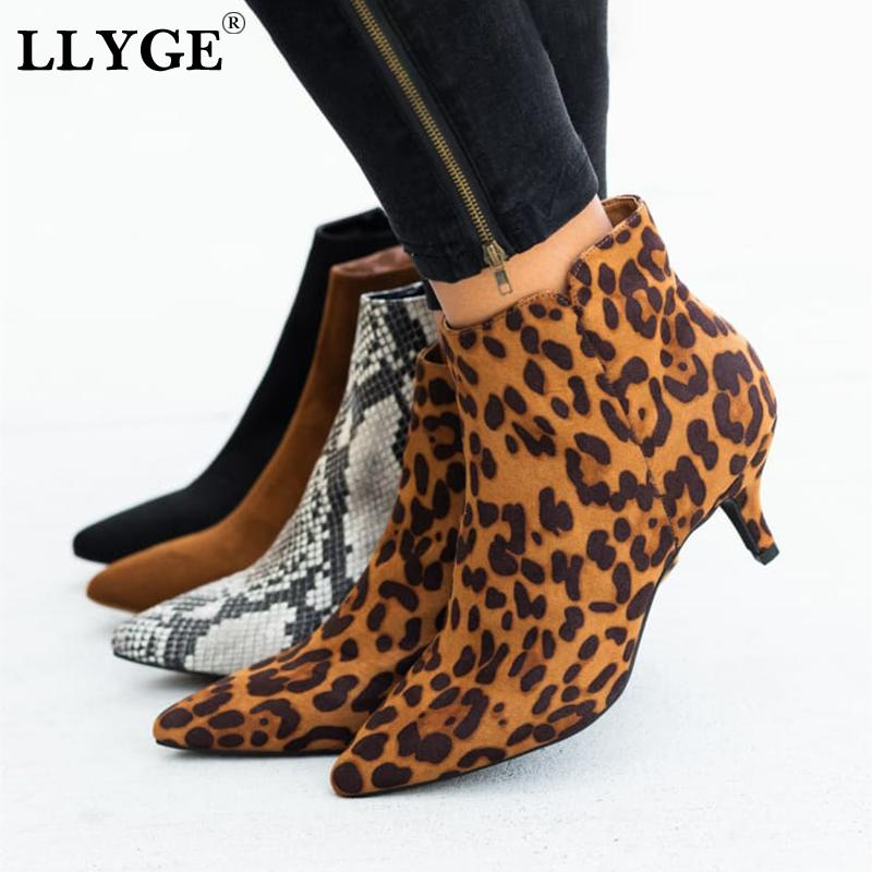 Spring Women's Ankle Boots Leopard Female Zip Pointed Toe Woman Snakeskin Stilettos Plus Size Sexy Ladies Suede Female Shoes MX200324