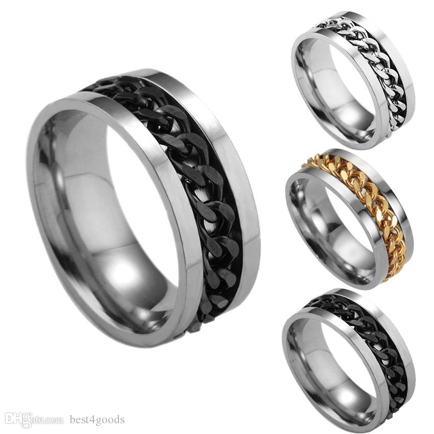 316L Stainless Steel Men Chain Ring Movable Spin Chain Titanium Rings Finger Band for Women Men Jewelry Gift