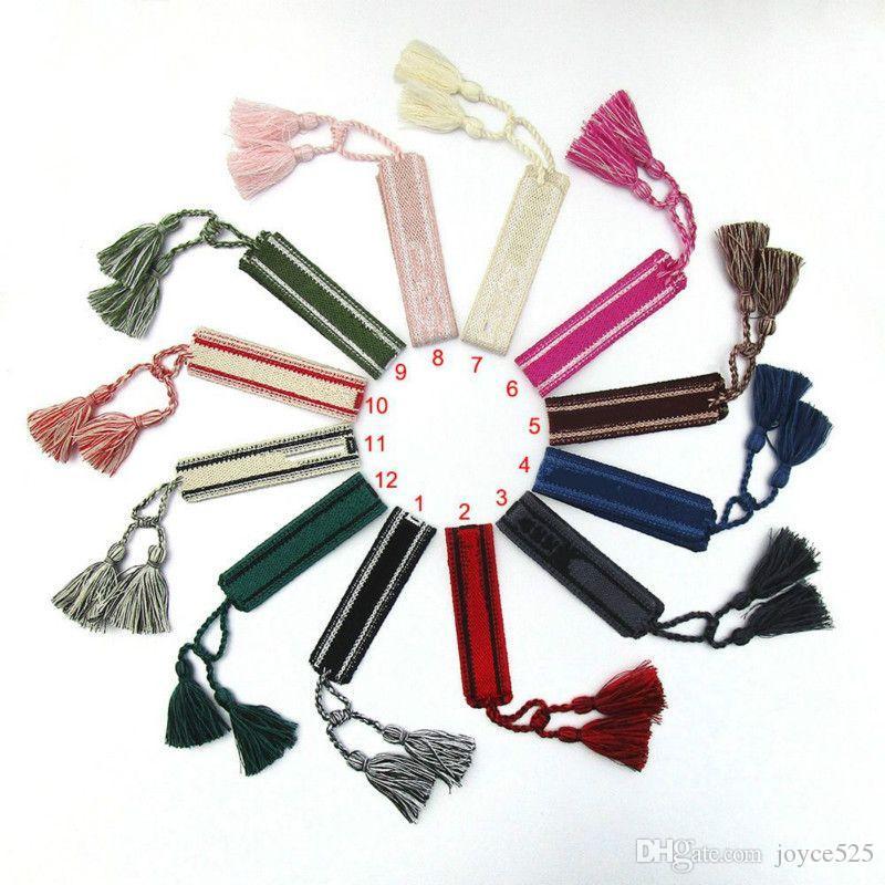New Tecido Bangle Bordado Logo Stripe Algodão Tecido Bordado Pulseiras Para Mulheres Nova Moda Marca Artesanal Tassel Lace-Up Pulseira
