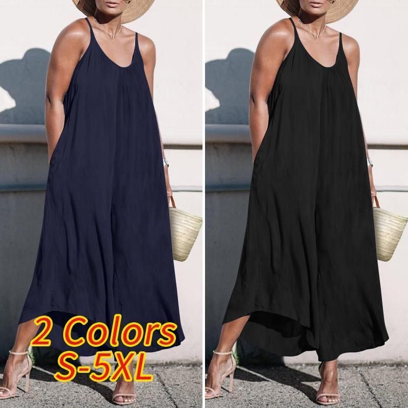 2020 Kadınlar Tulumlar Vonda Seksi Kolsuz Yaz tulum Gevşek Katı Renk playsuits Şık Günlük Pantolon Femme tulumları