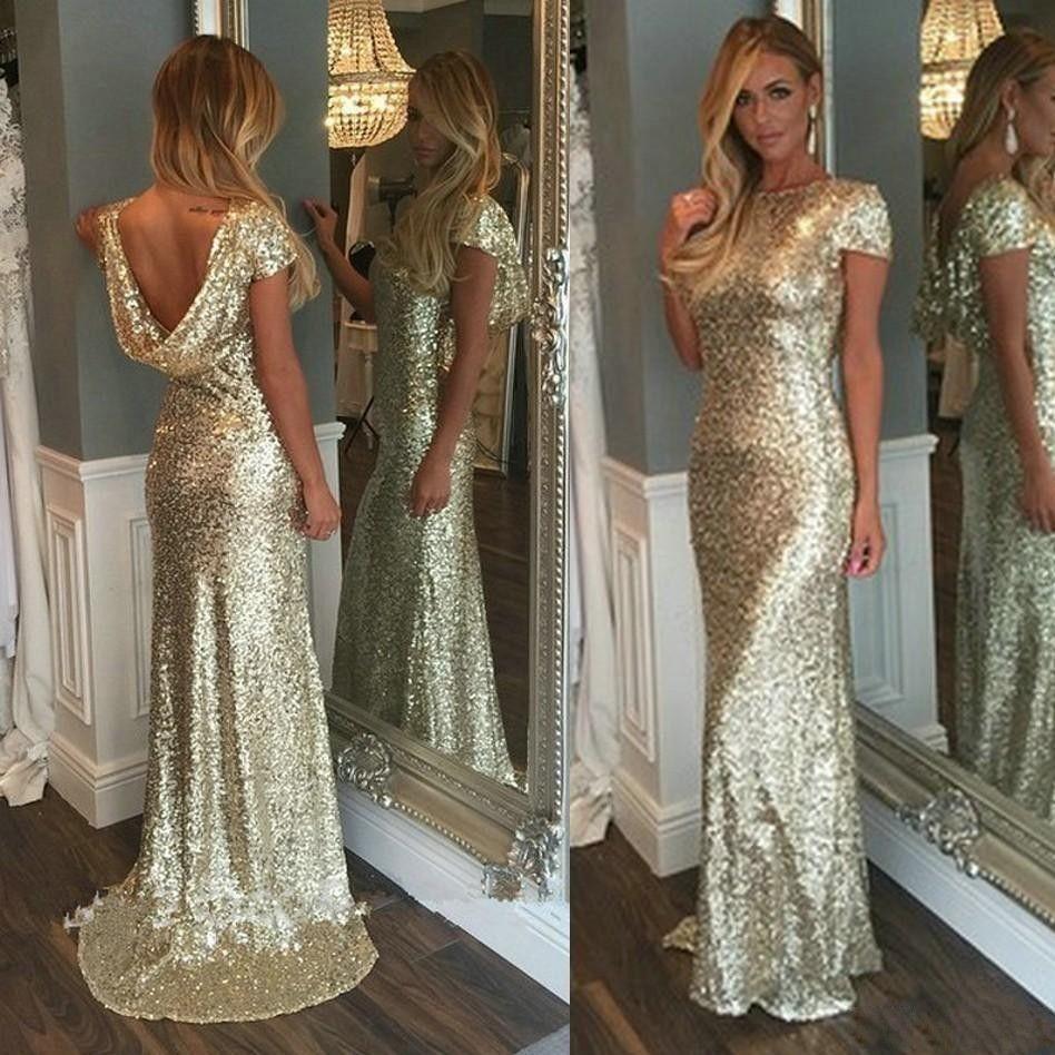 Moda Champanhe Ouro Lantejoulas Longos Vestidos de Dama de Honra Sparkly Manga Curta Sem Encosto Casamento Vestidos de Festa Júnior Vestidos de Madrinha de Casamento