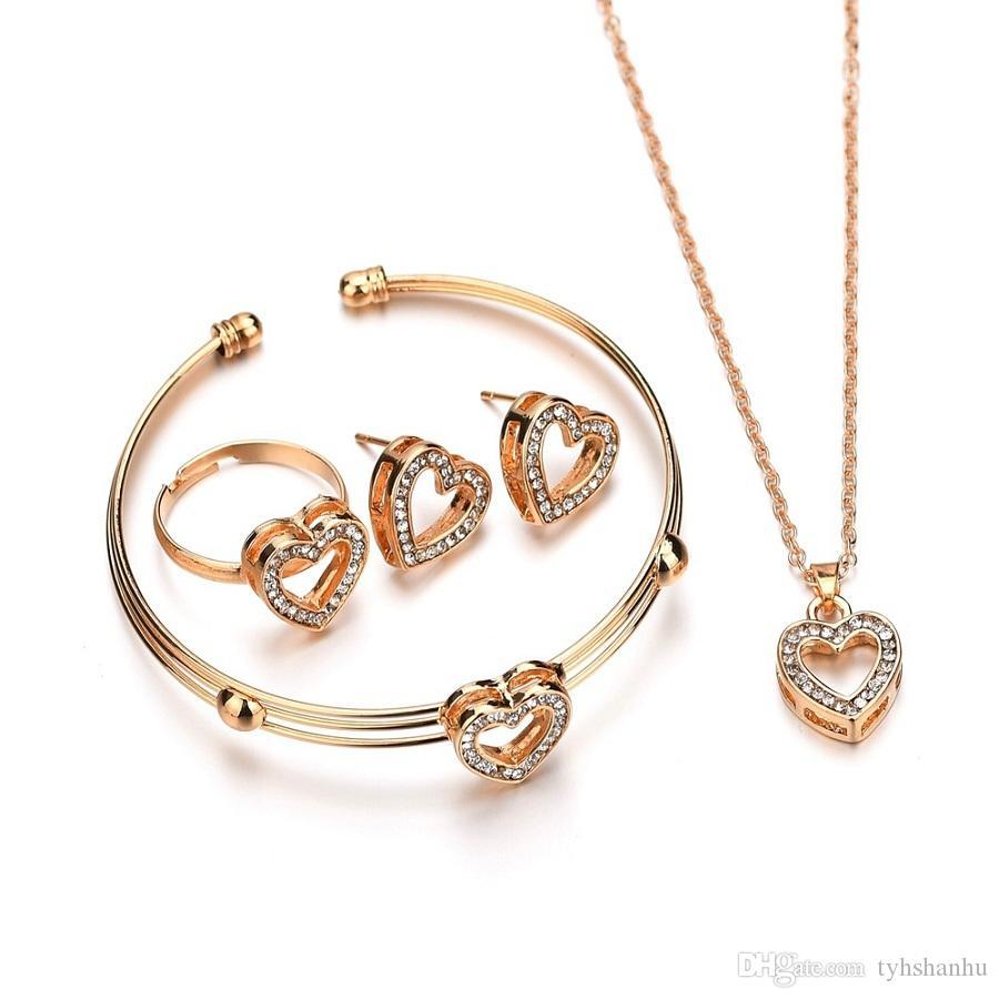 Terreau Kathy 4pcs / Sets Netter Herz-geformte Colliers Ohrringe Schmuck Kristall-Kind-Kind Schöne Goldfarbe Schmucksache-Sätze für Mädchen N1395