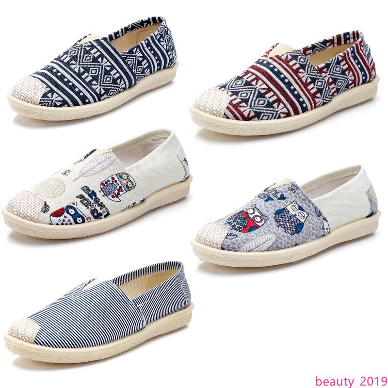 TOP no marca Alpargatas Chaussures mujeres Pisos zapatos de lona casuales resbalón de los holgazanes de las zapatillas de deporte de moda transpirable 35-40 Estilo 3