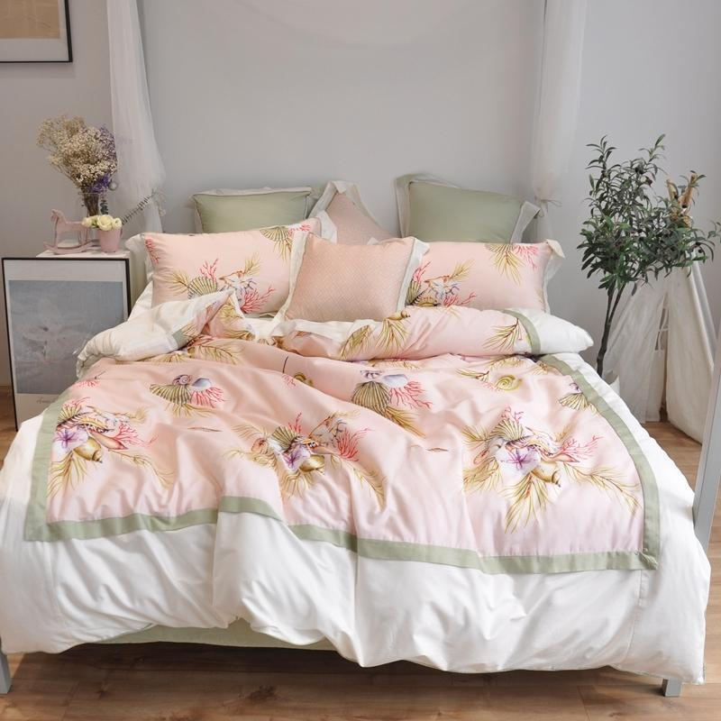Coton doux literie égyptien Ensemble Blanc floral rose imprimé patchwork Chic Housse de couette lit Ensemble de draps queen size Roi JPC