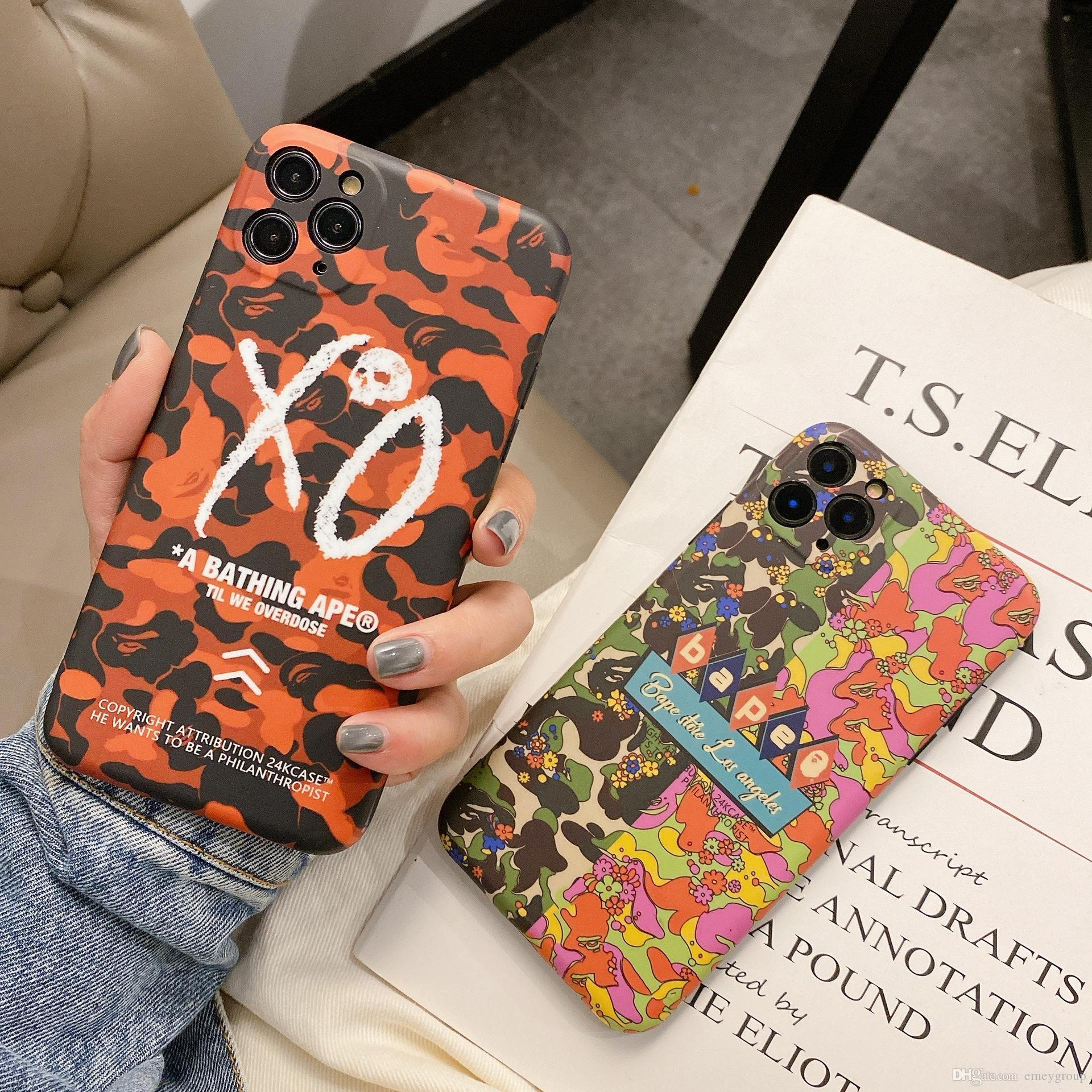 New luxury designer Phone Case Fashion for Iphone XS 11 PRO MAX XR 7 8 Plus carton camouflage silicone Phone Back Cover