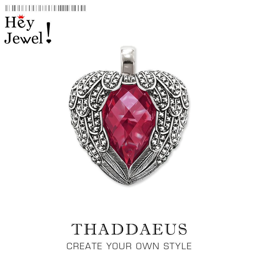 Colgante de alas rojas del corazón, 2020 Spring Fashion 925 joyería de plata esterlina Thomas collar cristalino romántico regalo para TS muchacha de la mujer