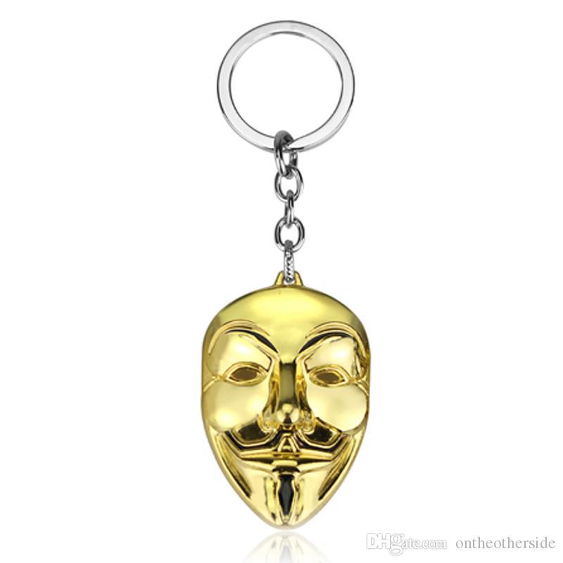 V For Vendetta Guy Fawkes Mask Alloy Key Chains Keychain Keyfob Keyring Gift