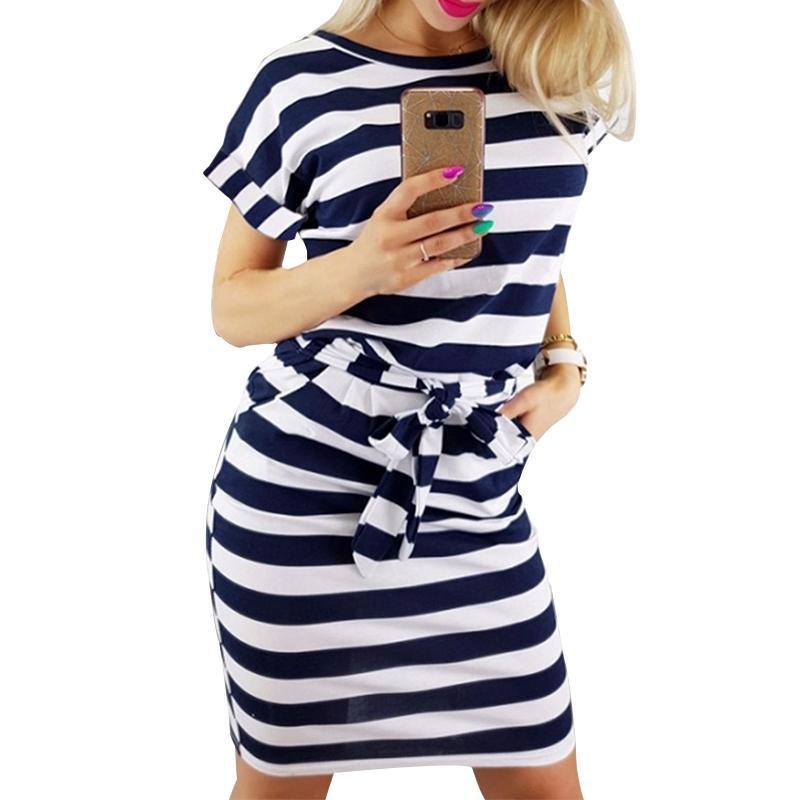 Februaryfrost 2020 mujeres ocasional de la camisa de rayas de manga corta impresa vestido causal hasta la rodilla tee Ofiice playa vestido de Calle