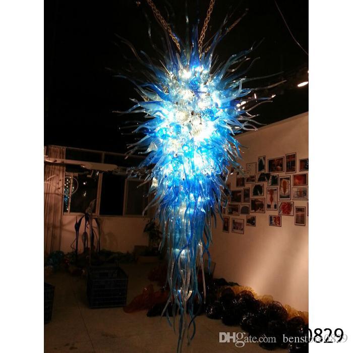 Lámpara cristalina moderna azul del color LED lámpara de cristal hecho a mano para el Hotel vestíbulo de entrada grande colgante ligera colgante