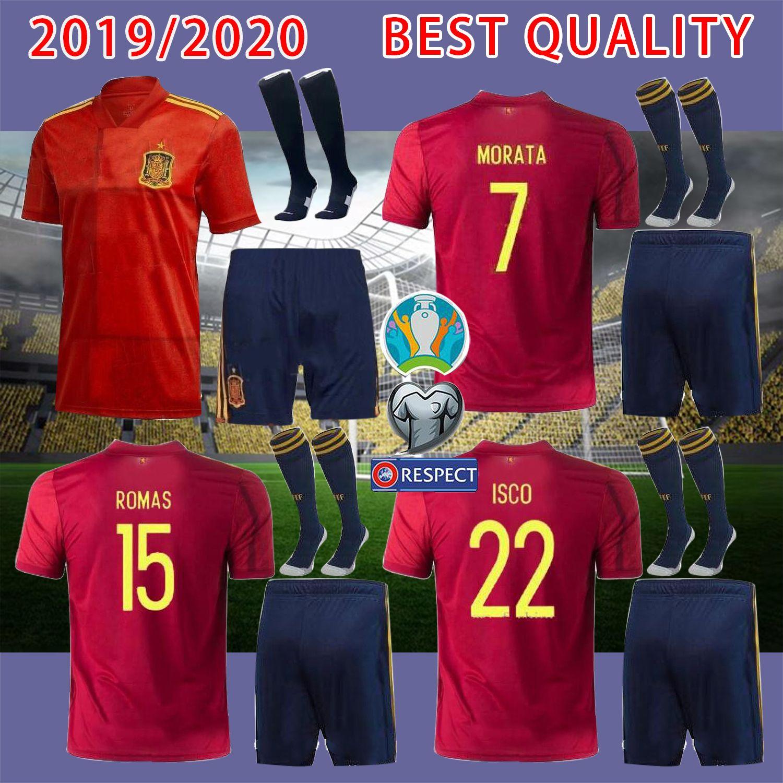 2020 Spanien Jersey Home Trikot 2019 Paco Alcácer ASENSIO MORATA ISCO INIESTA THIAGO SAUL Fußball erwachsener Mann-Sporthemd