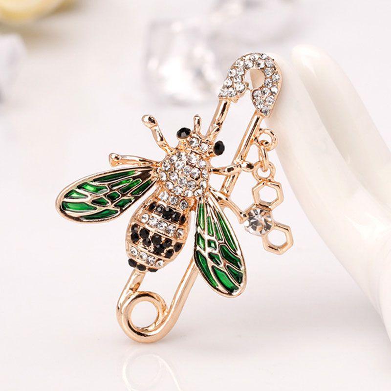 Abelha cristal de diamante broche abelha pins broches Alloy Rhinestone Moda Mulheres Insect Sweater Jóias Frete grátis