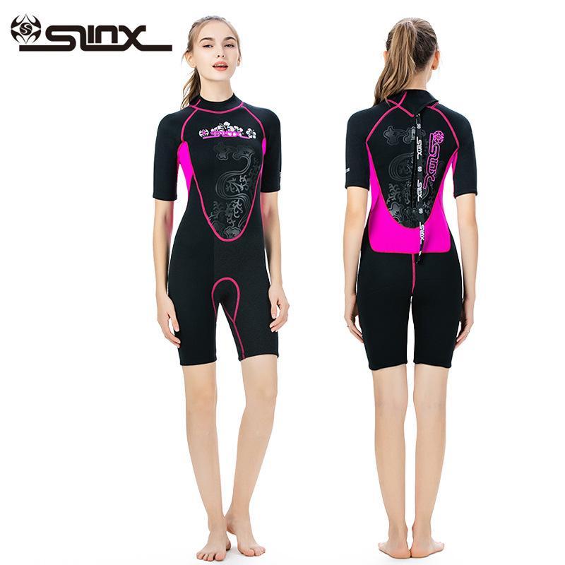 Aquecer num mergulho terno fêmea 3 milímetros de altura mola quente de manga curta conjuntaram surfar revestimento molhado manga curta escafandro