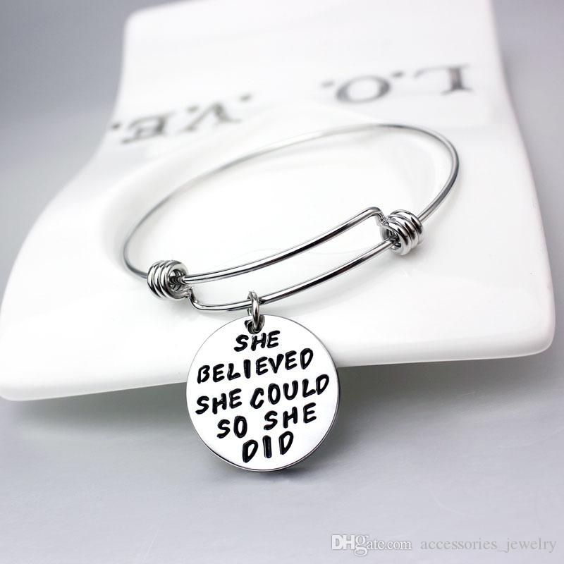New Popular Silver Plated Engraved School Students Motivational Words Charm Bangle Bracelets for Wholesale 5 PCS