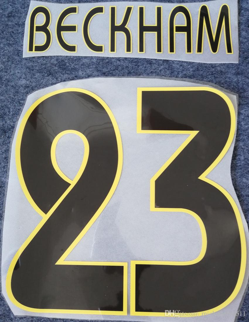 2004 2005 Real Madrid sıcak baskı siyah futbol namesets # 23 BECKHAM futbolcu damgalama vintage mektuplar retro baskılı plastik çıkartmalar