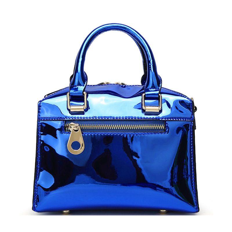 W M Patent Leather Totes Plain Color Beads Decorate Handbag Pu