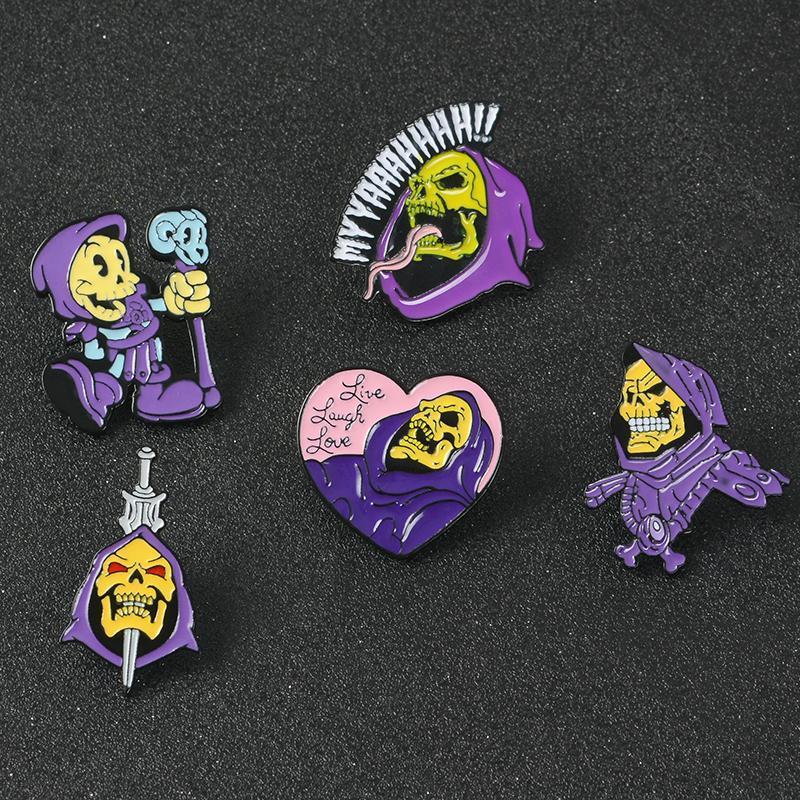 He-Man Ve Evren Canlı Gül Aşk İskelet Kafatası Kılıç Wand Cadılar Bayramı Emaye Broş iğneler İçin Arkadaş mWvBx Masters Of