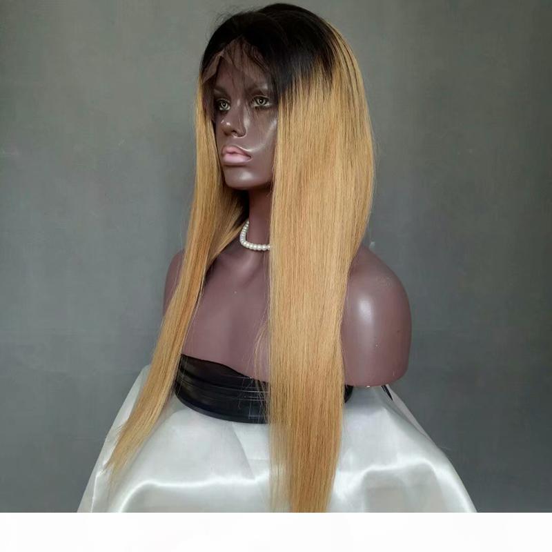 Lungo color merletto anteriore parrucche 1B 27 diritta Ombre merletto dei capelli umani anteriore parrucche Blonde di miele pre colorato merletto anteriore parrucche 8-28 pollici