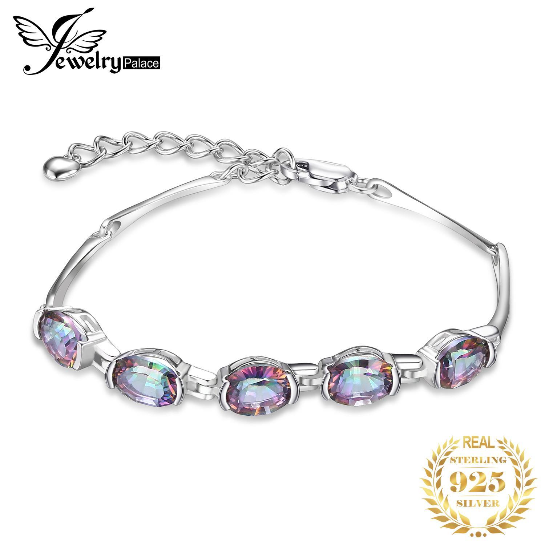 JewelryPalace Natural Mystic Topaz 925 Sterlingsilber-Armband Tennis Gemstones Armbänder für Frauen Silber 925 Schmucksachen, die V191220