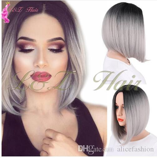 synthetic lace front wig 12inch long straight hair ombre style BOB wig black brown blonde pink bob wig for women