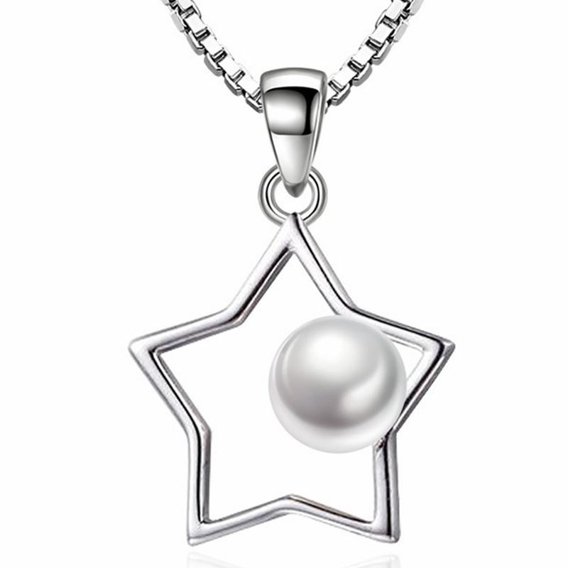 Mesdames chaîne courte Imitation Pearl Star Colliers Pendentifs cinq branches pour les bijoux de mode de femmes Brithday cadeau WJ68