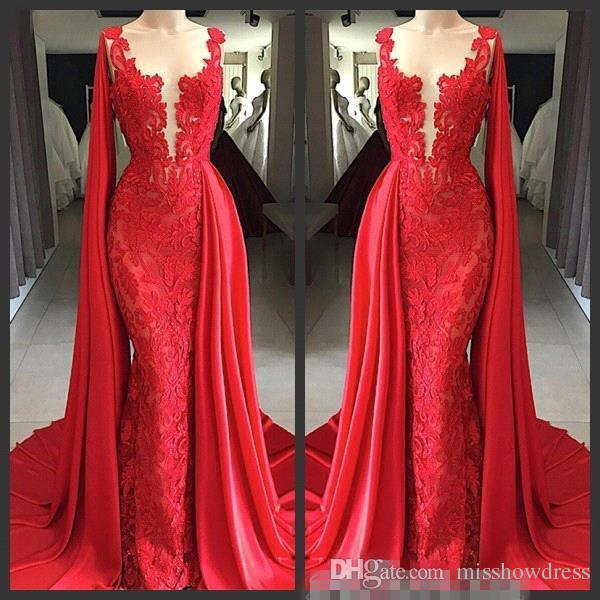 Arabic Sexy Amazing Red Lace Mermaid Evening Dresses Illusion Sheer Mesh Top Ruched Long Formal Party Prom Wear Dresses Robe De Mariee