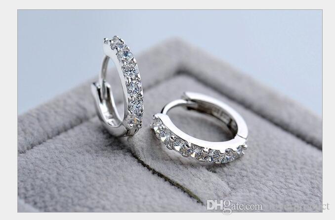 Boucles d'oreilles fantaisie en gros Bijoux argent 925 Stud strass Hoop Boucles d'oreilles pour les femmes Beau cadeau