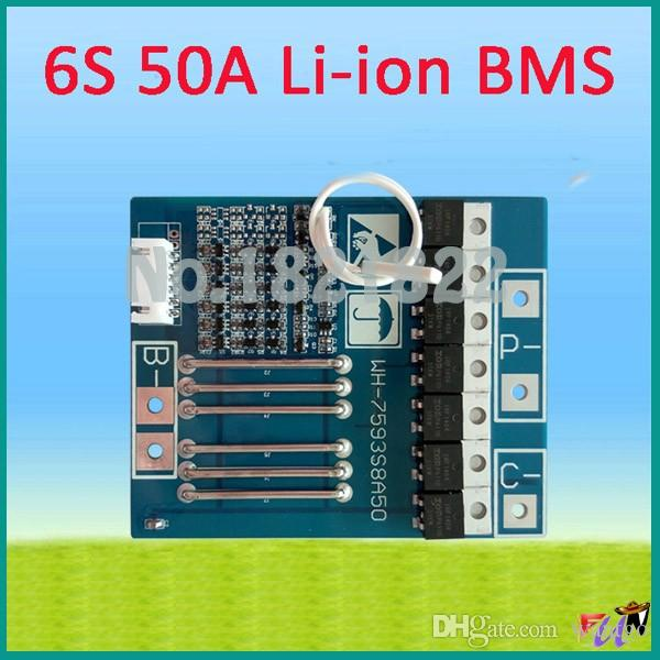 6S 50A 22.2V li-ion BMS PCM battery protection large current board bms pcm for LicoO2 Limn2O4 li battery freeshipping