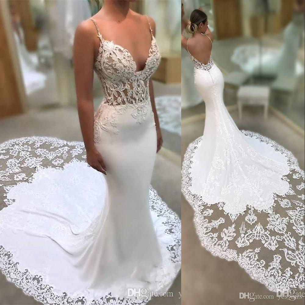 New Sexy Mermaid Wedding Dresses Spaghetti Straps 3D Appliques Lace Sleeveless Backless Lace Chapel Train Arabic Custom Formal Bridal Gowns