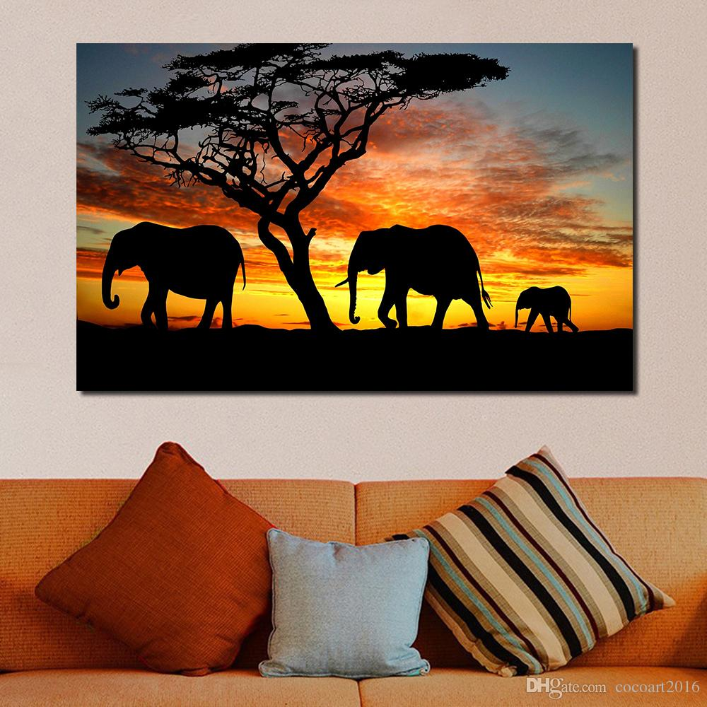 Éléphants sunset afrique safari single toile murale art imprimé photo