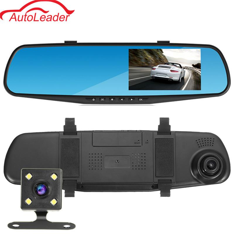 Freeshipping 4.3'' Car DVR Dual Camera Full HD 1080P Video Recorder Rearview Mirror With Rear View Automobile DVR Mirror Dash Cam Car DVRs