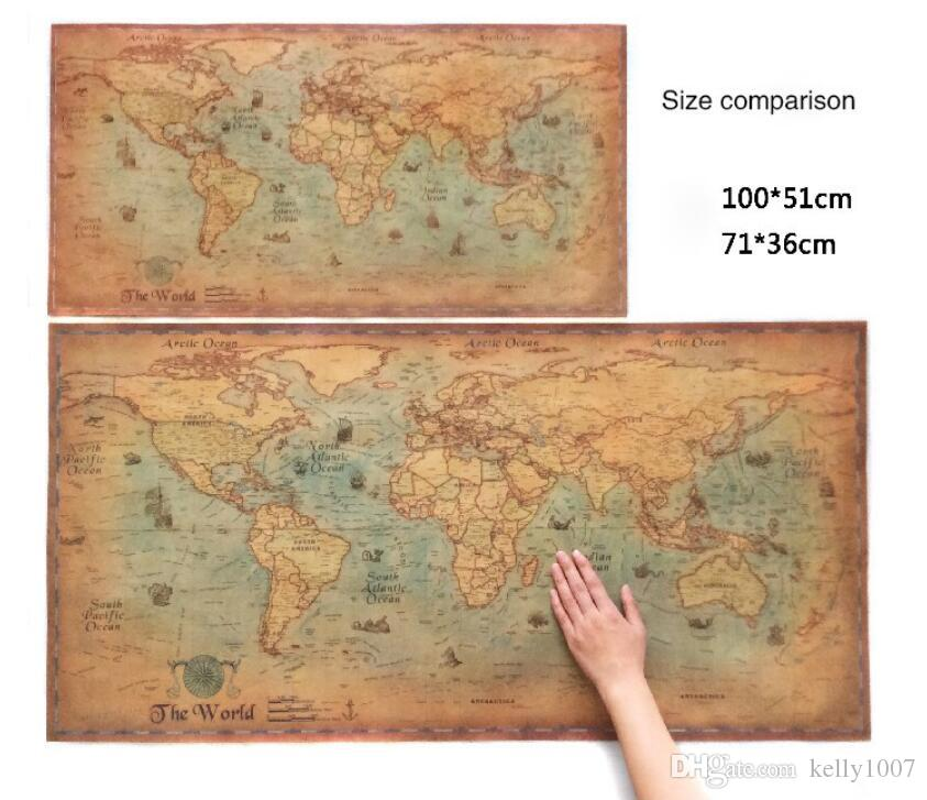 Nautical Ocean Sea world map Retro old Art Paper Painting Home Decor Sticker Living Room Poster Cafe Antique poster DHL