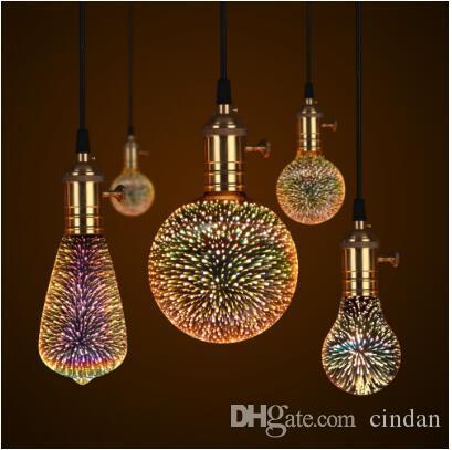 3D LED Lamba Edison Ampul Vintage Dekorasyon E27 110 V 220 V LED Filament Lambası Bakır Tel Dize Akkor ampul yerine