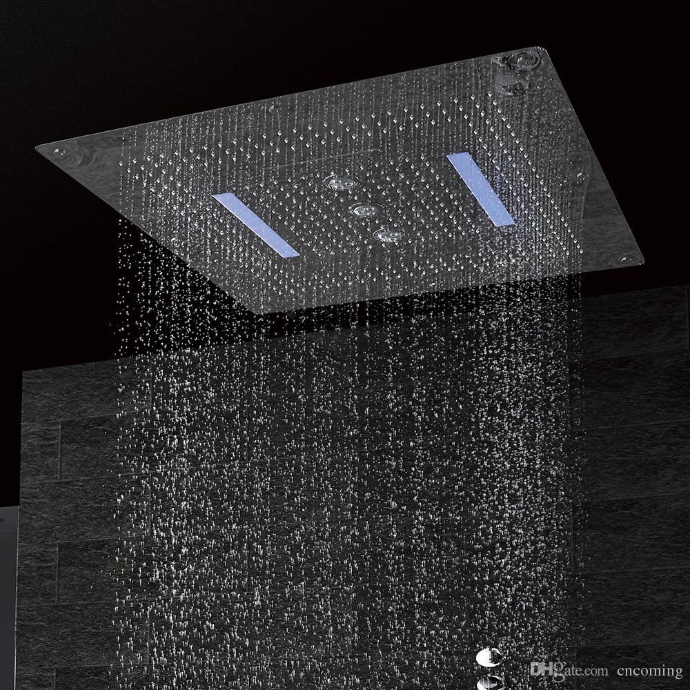 LED 천장 샤워 헤드 SUS304 대형 크기 800x800mm 4 개의 함수 강우량 폭포 소용돌이 커튼 DF5424로 만든
