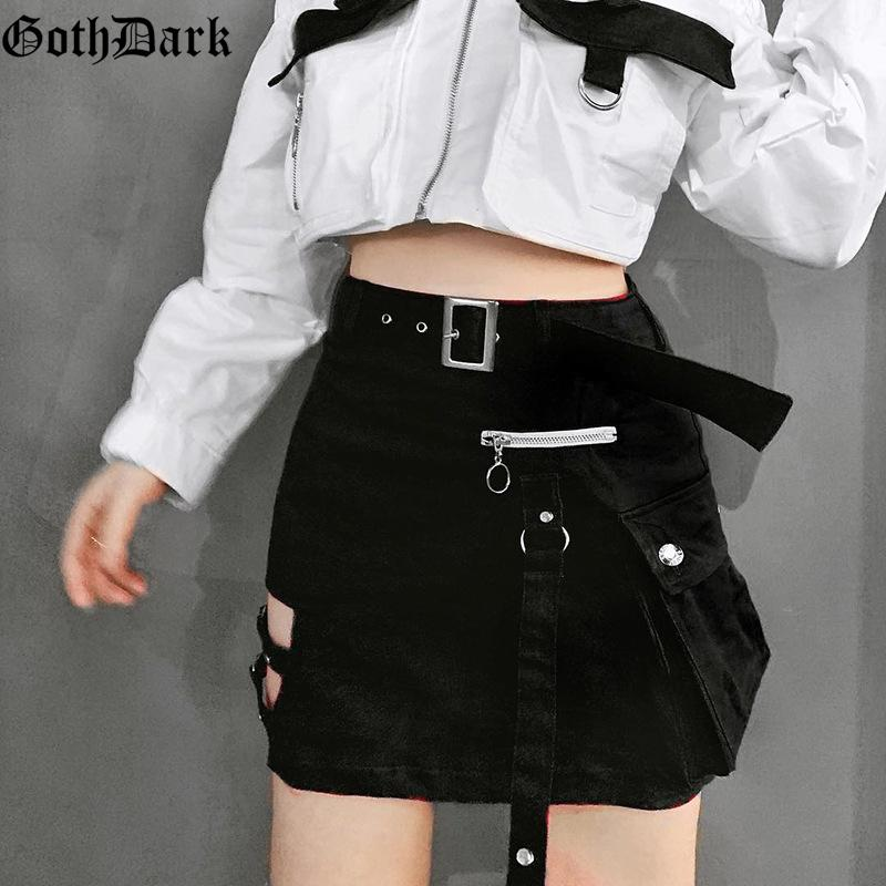 Goth Dark Solid Black Patchwork Hollow Out Skirts For Women Gothic Summer 2019 Hole Grunge Eyelet Zipper Skirt Fashion Punk LY191203
