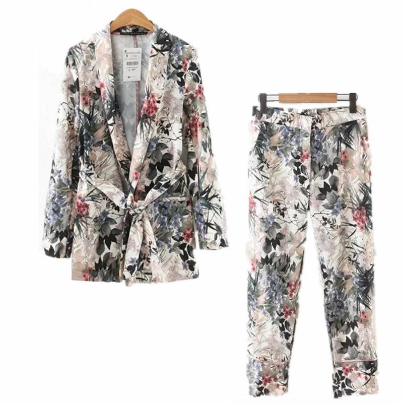 Trajes para mujeres elegantes 2019 otoño mujer de manga larga untada kimono Blazer correa de impresión de la capa + pantalones casuales Traje Dos conjuntos de piezas de época