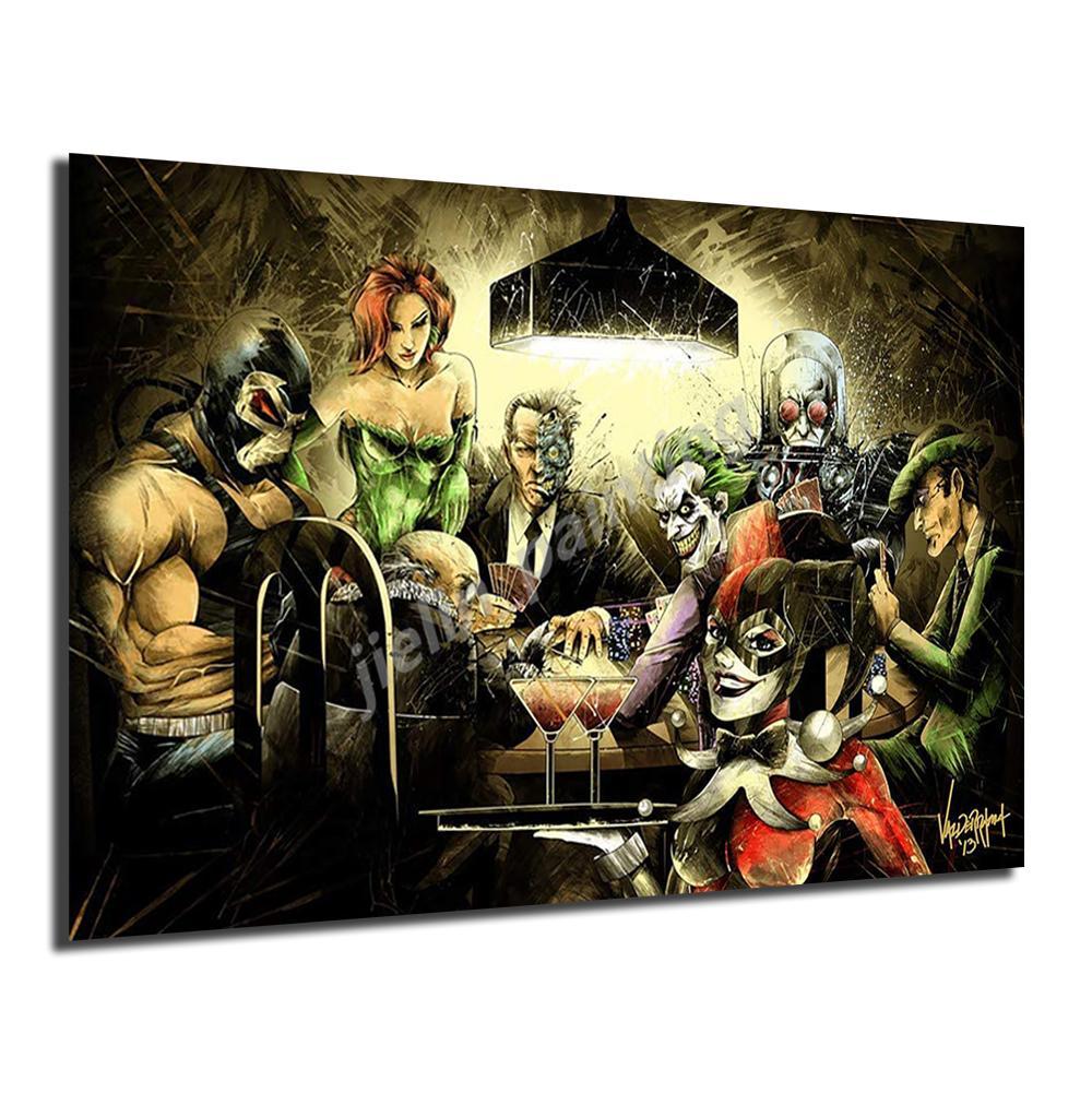 Бэтмен Злодеи Playing Cards Плакат Joker Картины на холсте Современное искусство Декоративные настенные панно Украшение