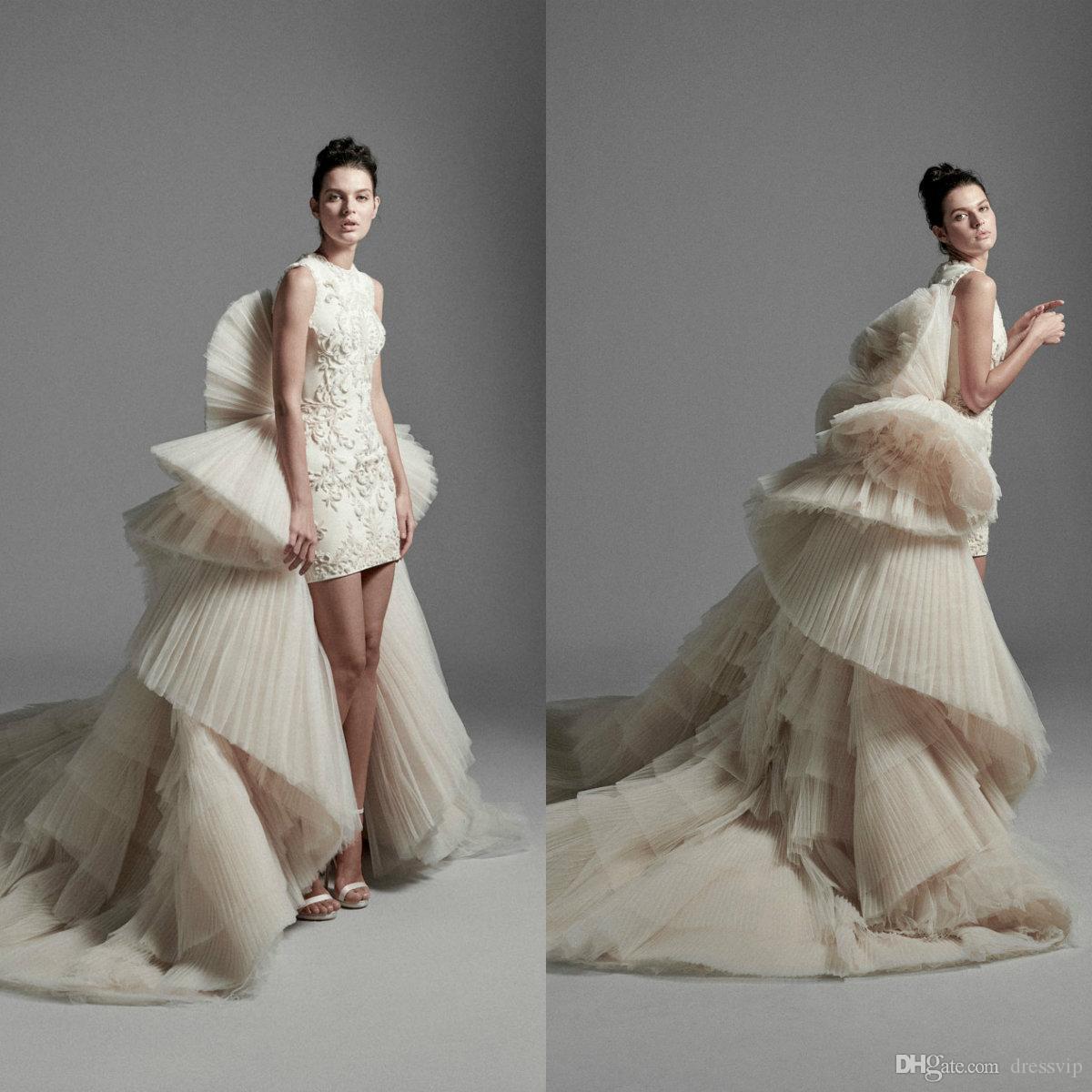 2020 Krikor Jabotian Wedding Dresses With Detachable Train Tulle Ruffles Tiered Skirts High Low Wedding Dress Custom Made Abiti Da Sposa