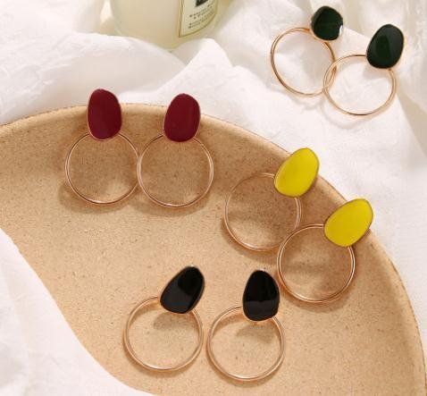 2020 La nouvelle conception ronde ovale vintage coloré émail géométrique Boucles d'oreilles longues pour femmes fille Jewerly cadeaux