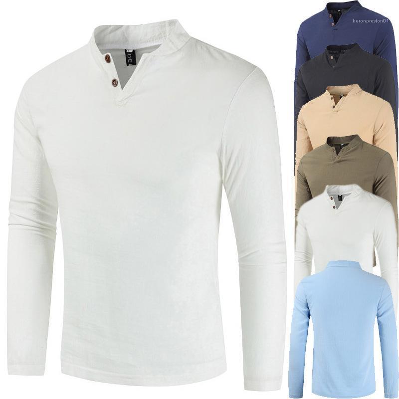 Primavera Outono Manga comprida em torno do pescoço fino Tees Mens Sólidos T-shirt Casual Cor
