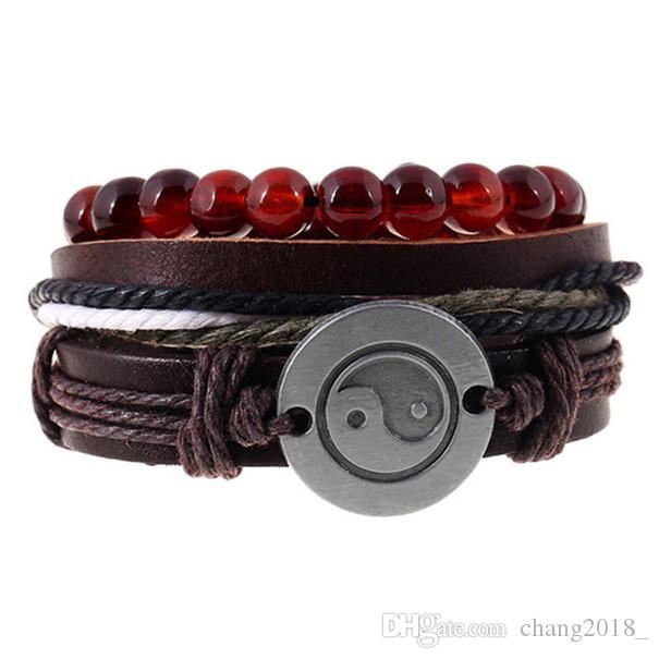 12 Arten Art und Weise Unisex Leder-Armband Yin und Yang Gossip Punk Manuelles Schiebe Pull-Armband Mann Vier Farbe Optional Männer Schmuck pksp3-4
